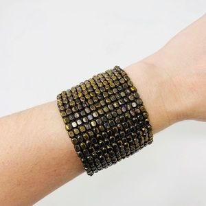 BOHO Bronze Beaded Cuff Bracelet Statement Artisan